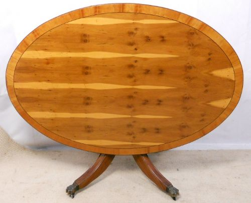 Large Yew Wood, Oval Pedestal Coffee Table